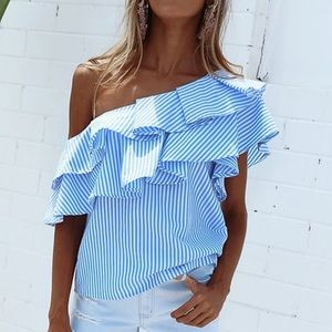 - - 🔴🔴  One shoulder ruffled blue blouse